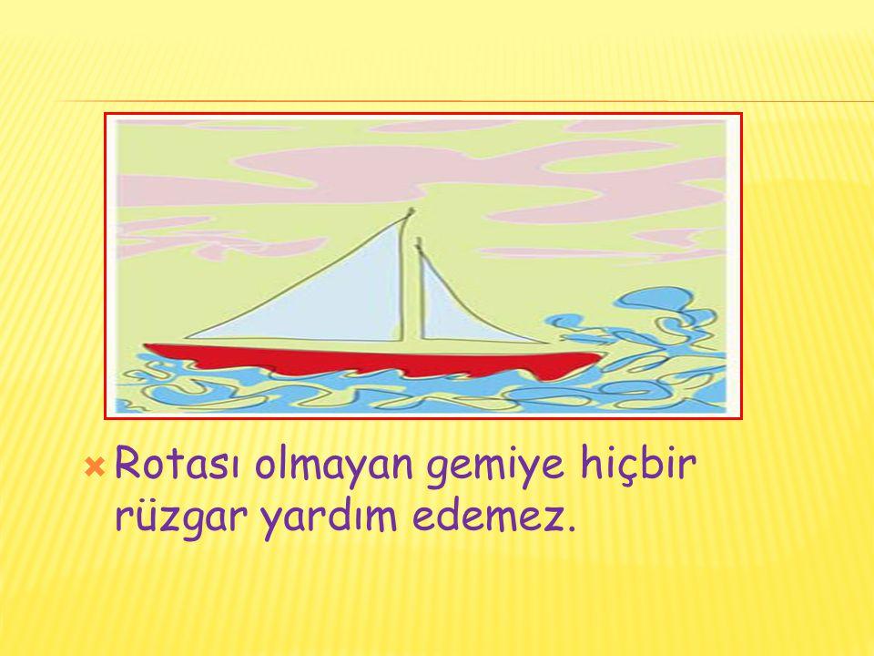  Rotası olmayan gemiye hiçbir rüzgar yardım edemez.