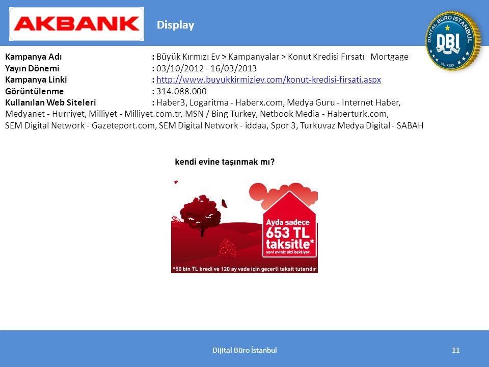 Dijital Büro İstanbul11 Kampanya Adı : Büyük Kırmızı Ev > Kampanyalar > Konut Kredisi Fırsatı Mortgage Yayın Dönemi: 03/10/2012 - 16/03/2013 Kampanya Linki: http://www.buyukkirmiziev.com/konut-kredisi-firsati.aspxhttp://www.buyukkirmiziev.com/konut-kredisi-firsati.aspx Görüntülenme: 314.088.000 Kullanılan Web Siteleri: Haber3, Logaritma - Haberx.com, Medya Guru - Internet Haber, Medyanet - Hurriyet, Milliyet - Milliyet.com.tr, MSN / Bing Turkey, Netbook Media - Haberturk.com, SEM Digital Network - Gazeteport.com, SEM Digital Network - iddaa, Spor 3, Turkuvaz Medya Digital - SABAH Display