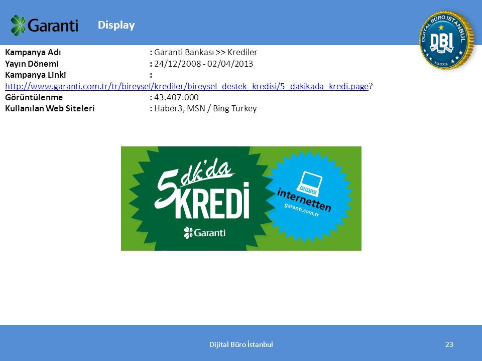 Dijital Büro İstanbul23 Kampanya Adı : Garanti Bankası >> Krediler Yayın Dönemi: 24/12/2008 - 02/04/2013 Kampanya Linki : http://www.garanti.com.tr/tr/bireysel/krediler/bireysel_destek_kredisi/5_dakikada_kredi.page.