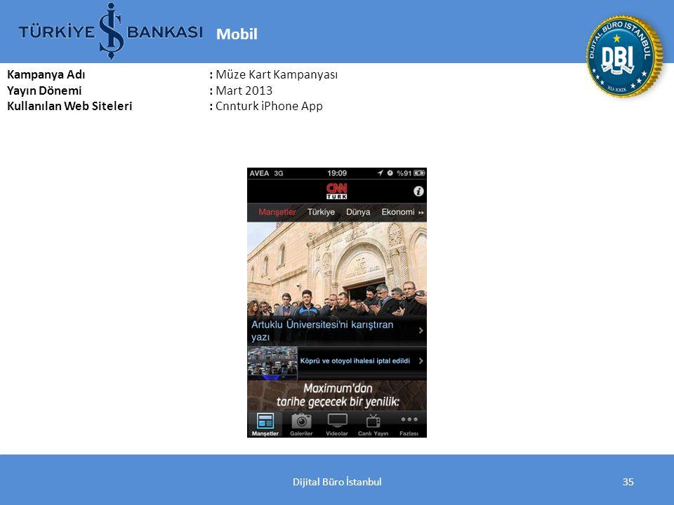 Dijital Büro İstanbul35 Kampanya Adı : Müze Kart Kampanyası Yayın Dönemi: Mart 2013 Kullanılan Web Siteleri: Cnnturk iPhone App Mobil