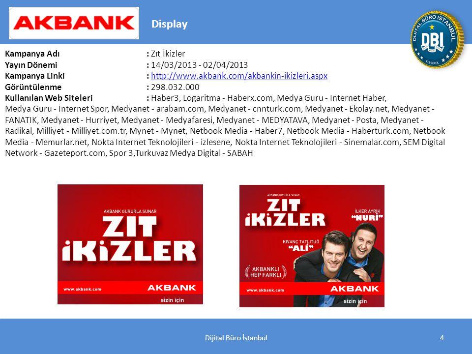 Dijital Büro İstanbul5 Kampanya Adı : Akbank Direkt İnternet Vadeli Mevduat Yayın Dönemi: 21/02/2013 - 05/03/2013 Kampanya Linki: http://www.akbank.com/vadeli-mevduat-yuksek-faiz2.aspxhttp://www.akbank.com/vadeli-mevduat-yuksek-faiz2.aspx Görüntülenme: 18.926.000 Kullanılan Web Siteleri: Haber3, Logaritma - Haberx.com, Medyanet - Hurriyet, Milliyet - Milliyet.com.tr, SEM Digital Network - Gazeteport.com Display