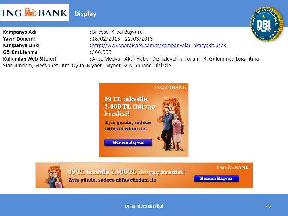 Dijital Büro İstanbul43 Kampanya Adı : Bireysel Kredi Başvuru Yayın Dönemi: 18/02/2013 - 22/03/2013 Kampanya Linki: http://www.parafcard.com.tr/kampanyalar_akaryakit.aspxhttp://www.parafcard.com.tr/kampanyalar_akaryakit.aspx Görüntülenme: 366.000 Kullanılan Web Siteleri: Arbo Medya - Aktif Haber, Dizi Izleyelim, Forum TR, Gulum.net, Logaritma - StarGundem, Medyanet - Kral Oyun, Mynet - Mynet, SCN, Yabanci Dizi Izle Display