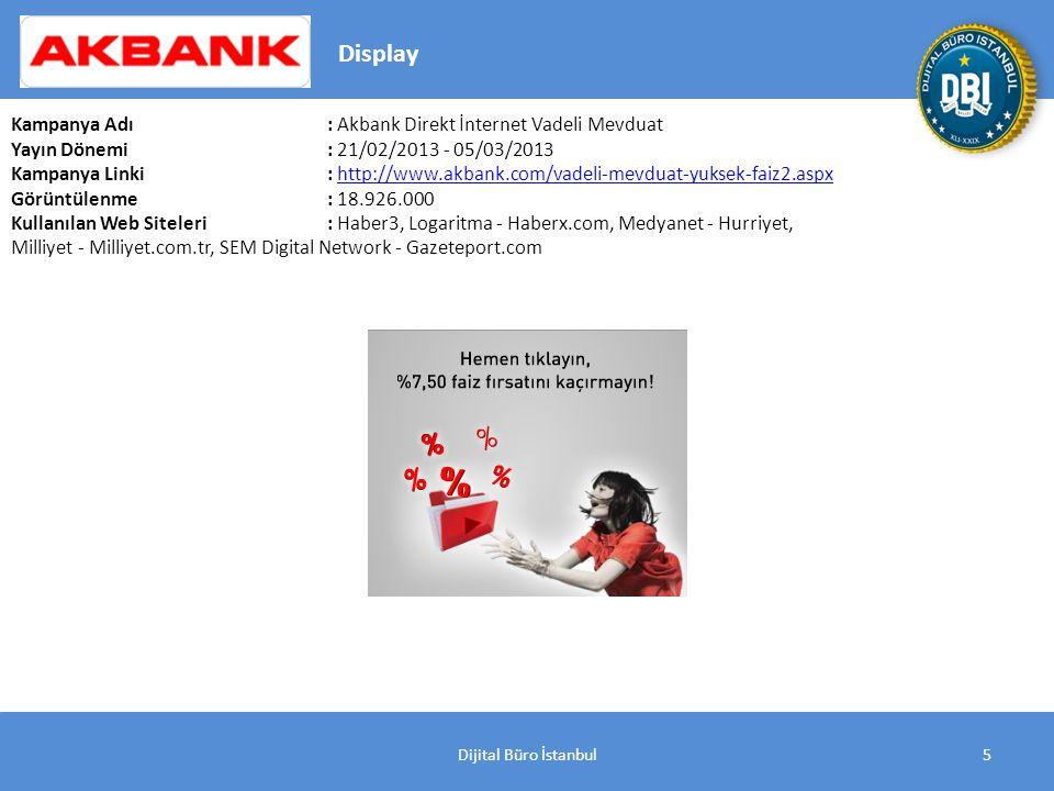 Dijital Büro İstanbul26 Kampanya Adı : Garanti Mortgage Yayın Dönemi: 18/03/2013 - 02/04/2013 Kampanya Linki : http://www.bonus.com.tr/pages/kampanyalar-bonus-kampanyalar.aspxhttp://www.bonus.com.tr/pages/kampanyalar-bonus-kampanyalar.aspx Görüntülenme: 18.076.000 Kullanılan Web Siteleri: Medya Guru - Internet Haber, Medyanet - Posta, Milliyet - Milliyet.com.tr, Mynet - Mynet, Reklam Z - Haberler.com, SEM Digital Network - Gazeteport.com, Turkuvaz Medya Digital - SABAH, YeniSafak.com.tr Display