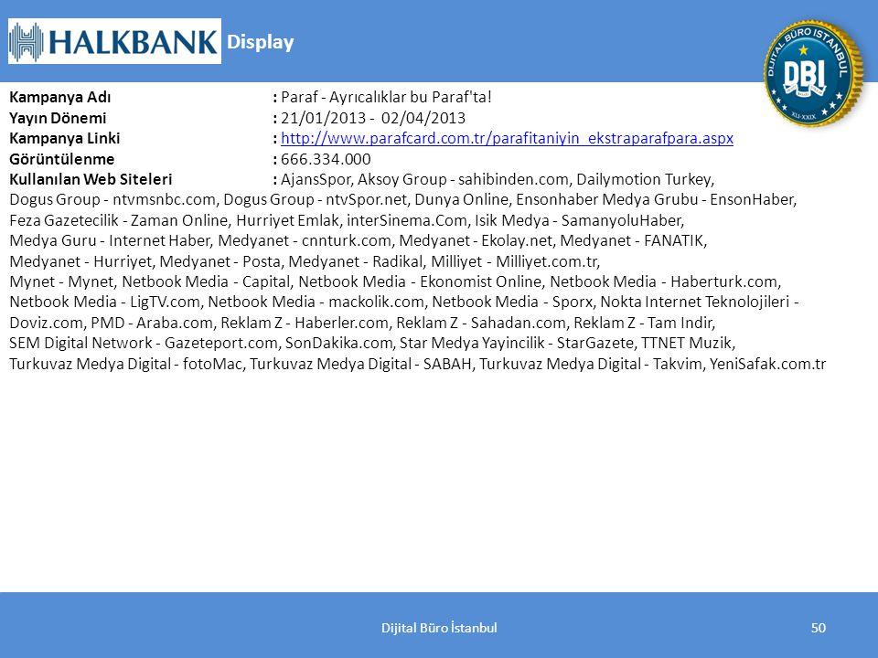 Dijital Büro İstanbul50 Kampanya Adı : Paraf - Ayrıcalıklar bu Paraf ta.