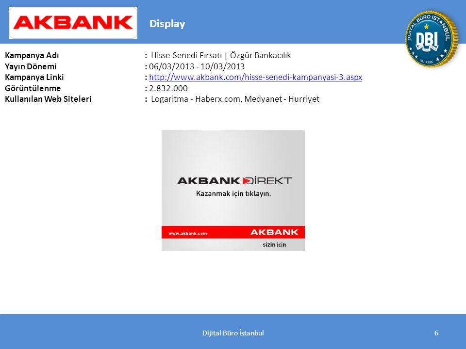 Dijital Büro İstanbul6 Kampanya Adı : Hisse Senedi Fırsatı | Özgür Bankacılık Yayın Dönemi: 06/03/2013 - 10/03/2013 Kampanya Linki: http://www.akbank.com/hisse-senedi-kampanyasi-3.aspxhttp://www.akbank.com/hisse-senedi-kampanyasi-3.aspx Görüntülenme: 2.832.000 Kullanılan Web Siteleri: Logaritma - Haberx.com, Medyanet - Hurriyet Display