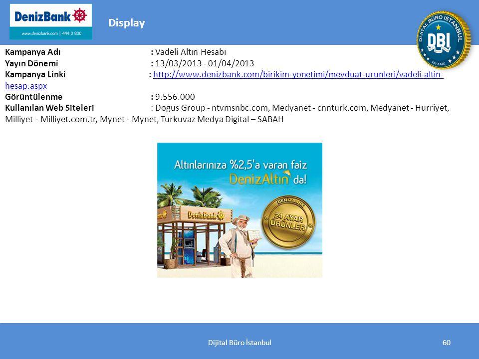 Dijital Büro İstanbul60 Kampanya Adı : Vadeli Altın Hesabı Yayın Dönemi : 13/03/2013 - 01/04/2013 Kampanya Linki: http://www.denizbank.com/birikim-yonetimi/mevduat-urunleri/vadeli-altin- hesap.aspxhttp://www.denizbank.com/birikim-yonetimi/mevduat-urunleri/vadeli-altin- hesap.aspx Görüntülenme : 9.556.000 Kullanılan Web Siteleri : Dogus Group - ntvmsnbc.com, Medyanet - cnnturk.com, Medyanet - Hurriyet, Milliyet - Milliyet.com.tr, Mynet - Mynet, Turkuvaz Medya Digital – SABAH Display