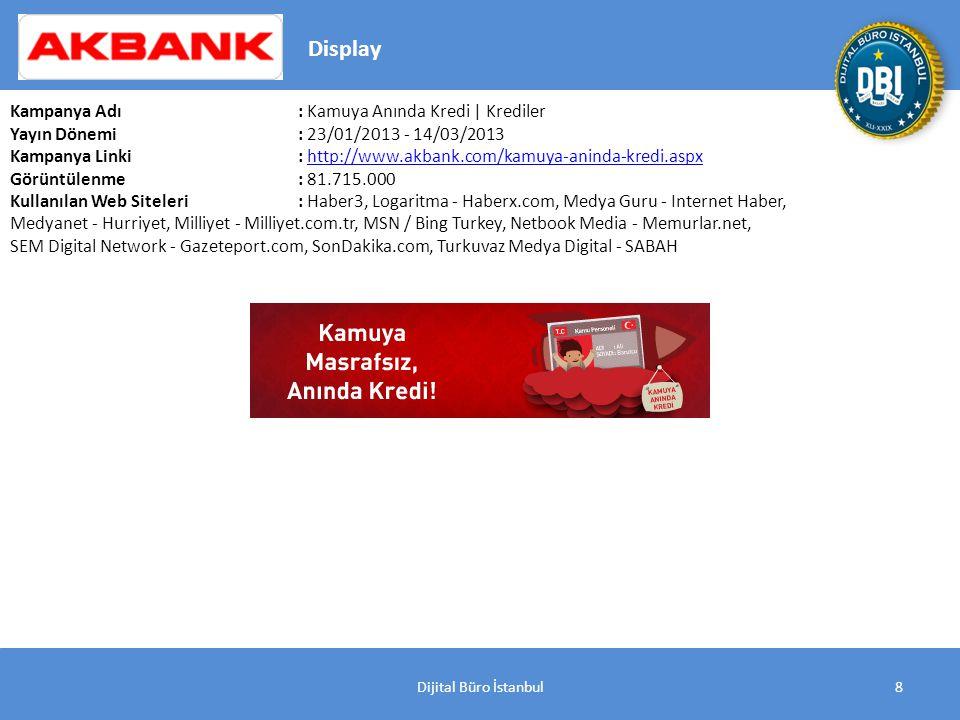 Dijital Büro İstanbul8 Kampanya Adı : Kamuya Anında Kredi | Krediler Yayın Dönemi: 23/01/2013 - 14/03/2013 Kampanya Linki: http://www.akbank.com/kamuya-aninda-kredi.aspxhttp://www.akbank.com/kamuya-aninda-kredi.aspx Görüntülenme: 81.715.000 Kullanılan Web Siteleri: Haber3, Logaritma - Haberx.com, Medya Guru - Internet Haber, Medyanet - Hurriyet, Milliyet - Milliyet.com.tr, MSN / Bing Turkey, Netbook Media - Memurlar.net, SEM Digital Network - Gazeteport.com, SonDakika.com, Turkuvaz Medya Digital - SABAH Display