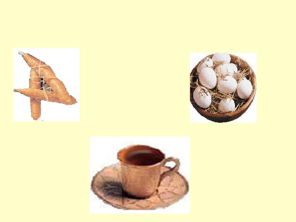 Birinci kaba bir havuç, diğerine bir adet yumurta, diğerine ise de bir avuç çekilmemiş kahve çekirdeği koymuş.
