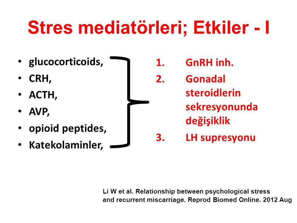 Stres mediatörleri; Etkiler - I glucocorticoids, CRH, ACTH, AVP, opioid peptides, Katekolaminler, 1.