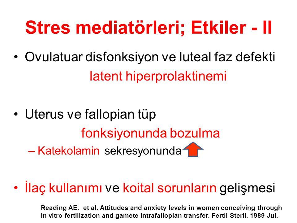 Stres mediatörleri; Etkiler - II Ovulatuar disfonksiyon ve luteal faz defekti latent hiperprolaktinemi Uterus ve fallopian tüp fonksiyonunda bozulma –Katekolamin sekresyonunda İlaç kullanımı ve koital sorunların gelişmesi Reading AE.