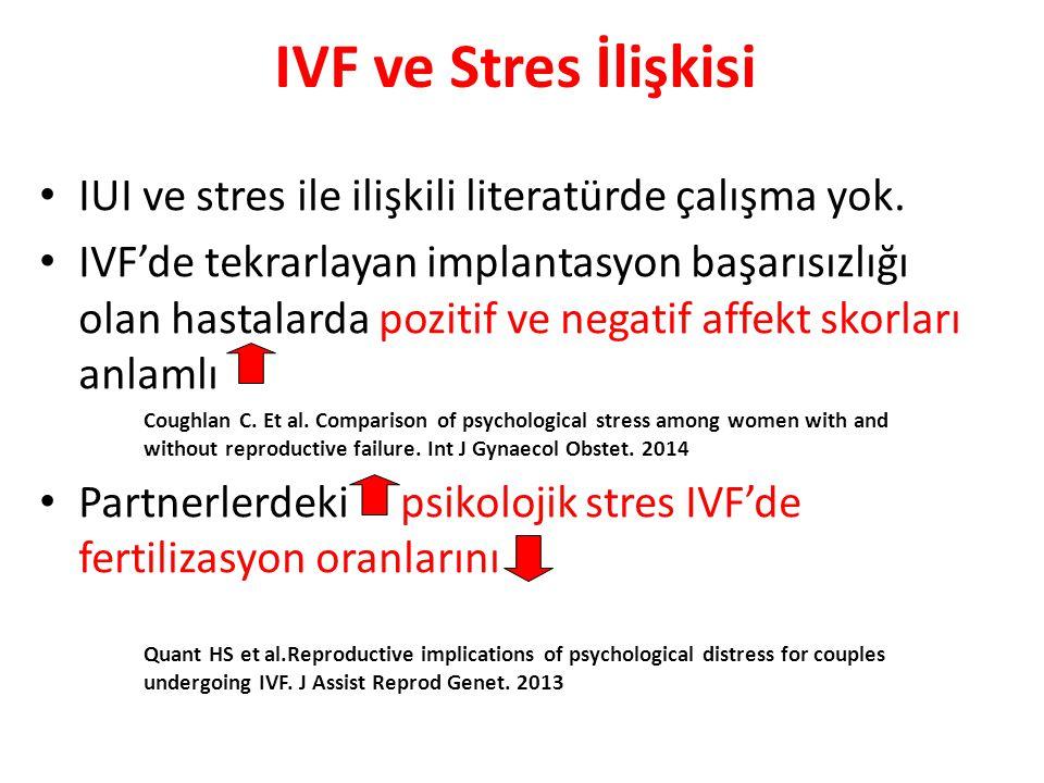 IVF ve Stres İlişkisi IUI ve stres ile ilişkili literatürde çalışma yok. IVF'de tekrarlayan implantasyon başarısızlığı olan hastalarda pozitif ve nega
