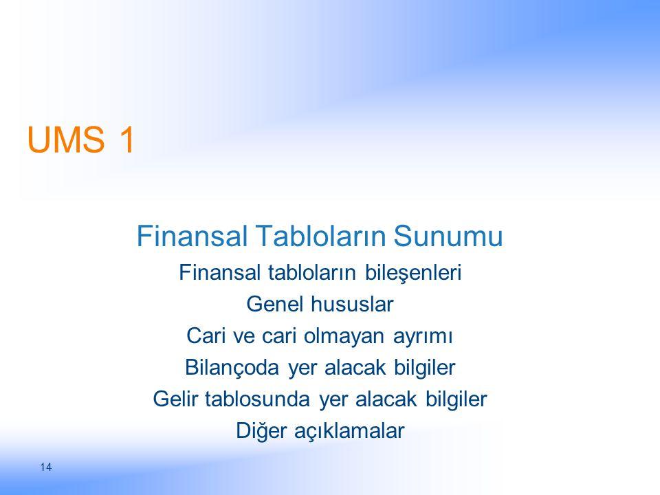 14 UMS 1 Finansal Tabloların Sunumu Finansal tabloların bileşenleri Genel hususlar Cari ve cari olmayan ayrımı Bilançoda yer alacak bilgiler Gelir tab