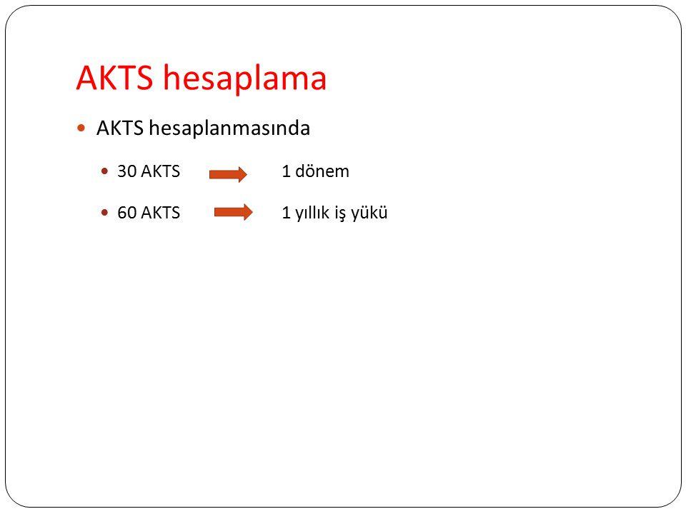 AKTS hesaplama AKTS hesaplanmasında 30 AKTS1 dönem 60 AKTS 1 yıllık iş yükü