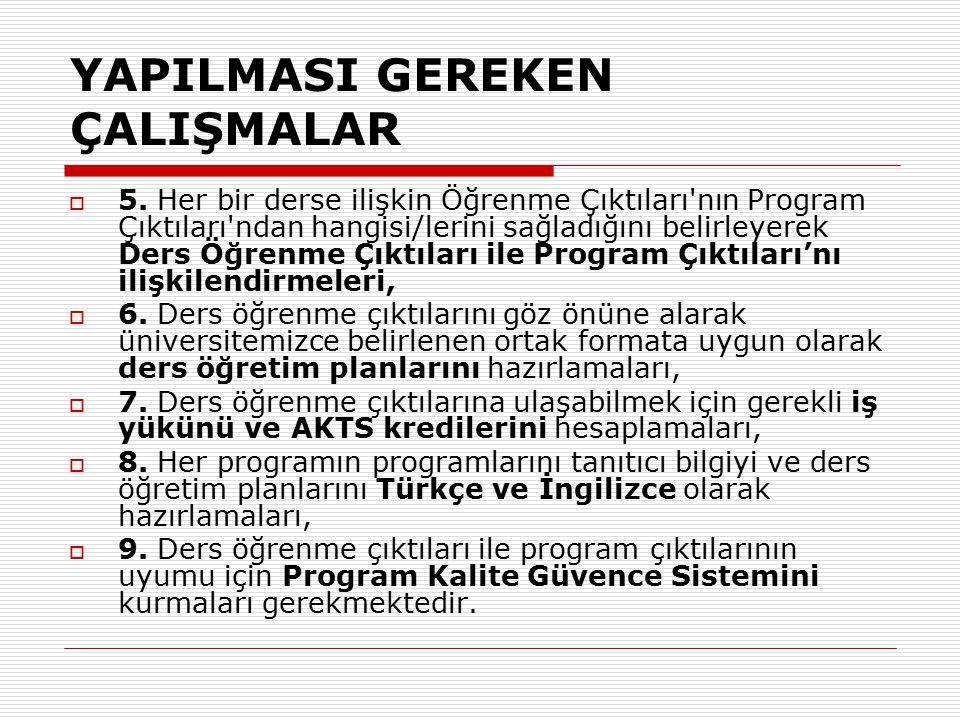 YAPILMASI GEREKEN ÇALIŞMALAR  5.