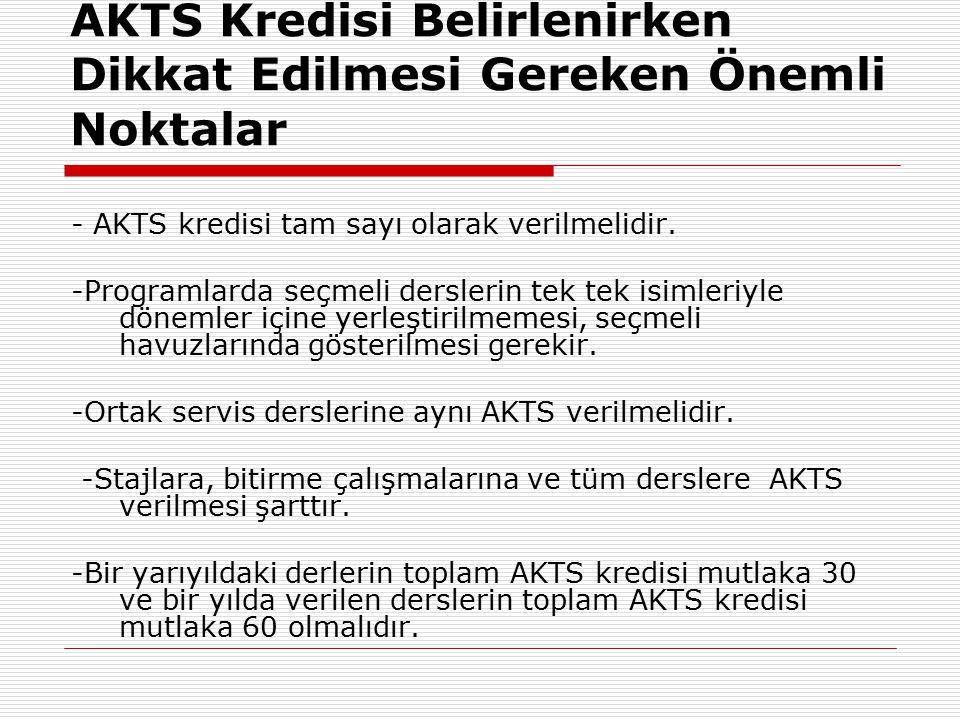 AKTS Kredisi Belirlenirken Dikkat Edilmesi Gereken Önemli Noktalar - AKTS kredisi tam sayı olarak verilmelidir.