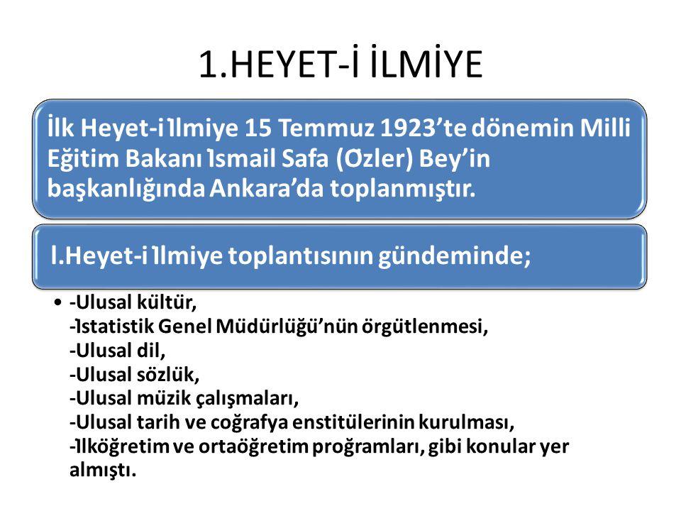 1.HEYET-İ İLMİYE İlk Heyet-i İlmiye 15 Temmuz 1923'te dönemin Milli Eğitim Bakanı İsmail Safa (Özler) Bey'in başkanlığında Ankara'da toplanmıştır.