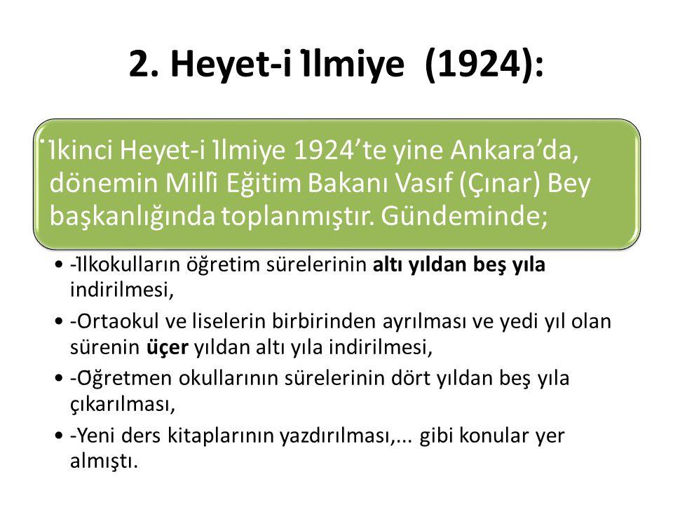 2. Heyet-i İlmiye (1924): ̇İkinci Heyet-i İlmiye 1924'te yine Ankara'da, dönemin Millî Eğitim Bakanı Vasıf (Çınar) Bey başkanlığında toplanmı