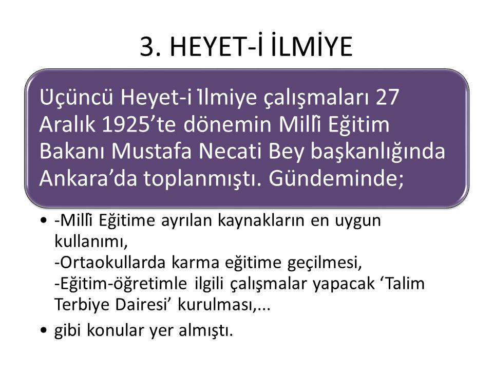 3. HEYET-İ İLMİYE Üçüncü Heyet-i İlmiye çalışmaları 27 Aralık 1925'te dönemin Millî Eğitim Bakanı Mustafa Necati Bey başkanlığında Ankara'