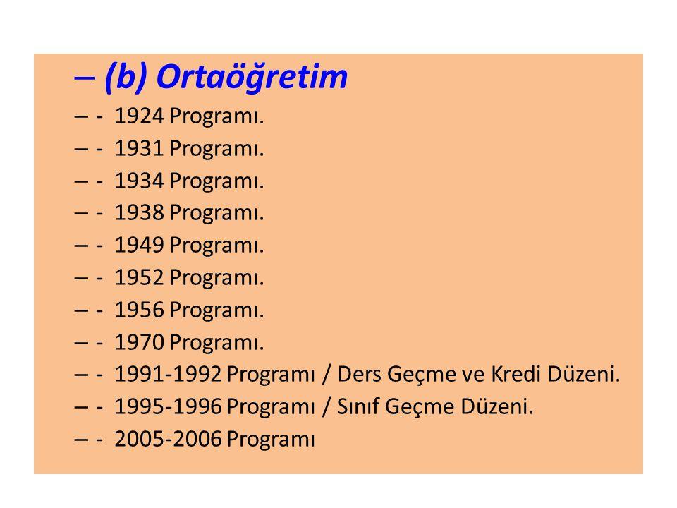 – (b) Ortaöğretim – - 1924 Programı.– - 1931 Programı.
