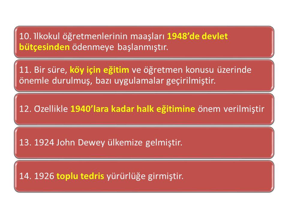 10.İlkokul öğretmenlerinin maaşları 1948'de devlet bütçesinden ödenmeye başlanmıştır.