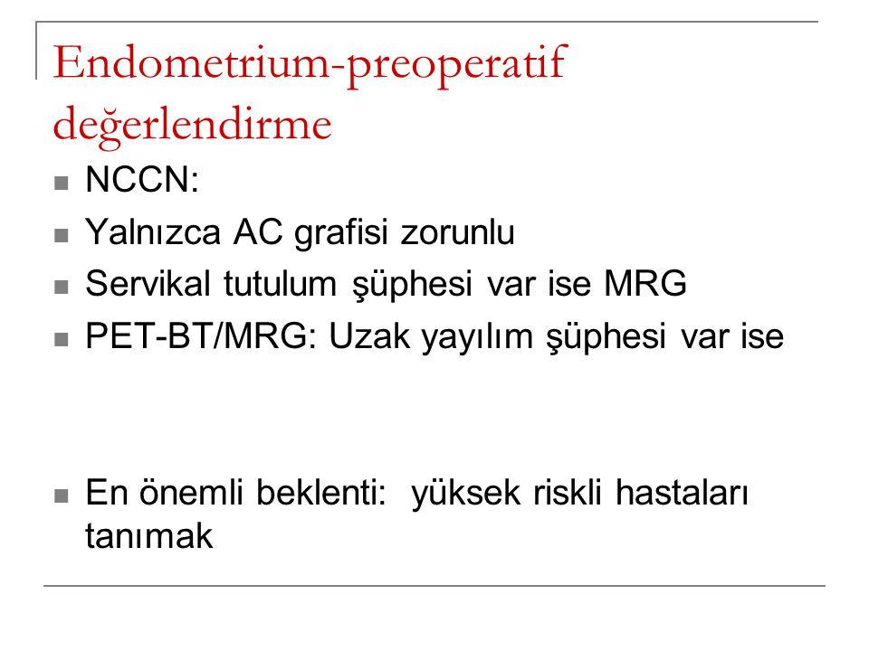Endometrium-preoperatif değerlendirme NCCN: Yalnızca AC grafisi zorunlu Servikal tutulum şüphesi var ise MRG PET-BT/MRG: Uzak yayılım şüphesi var ise En önemli beklenti: yüksek riskli hastaları tanımak