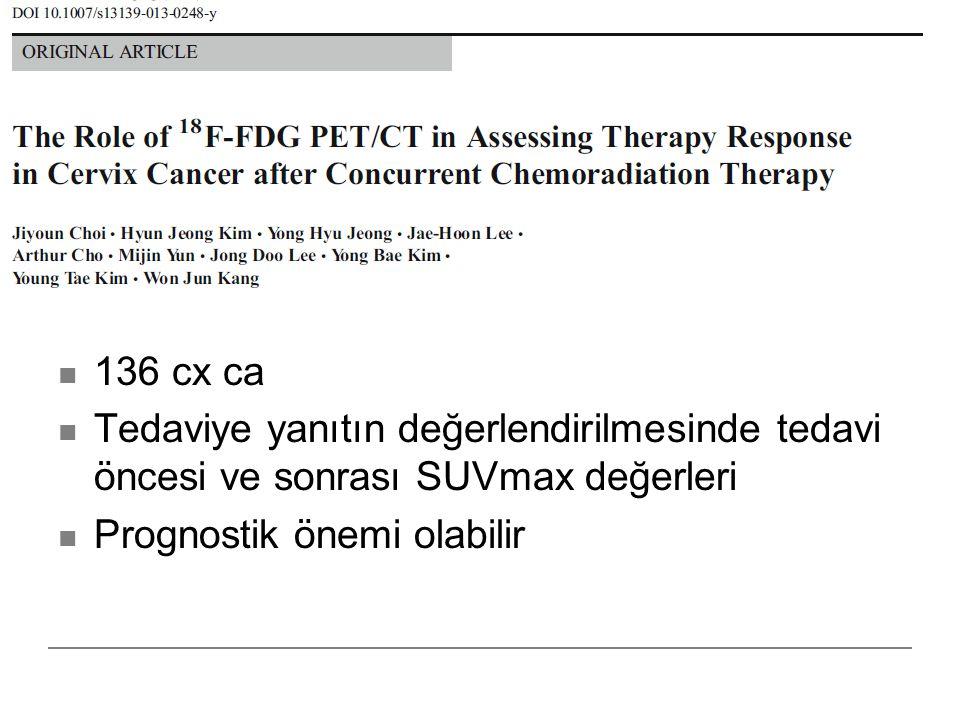136 cx ca Tedaviye yanıtın değerlendirilmesinde tedavi öncesi ve sonrası SUVmax değerleri Prognostik önemi olabilir
