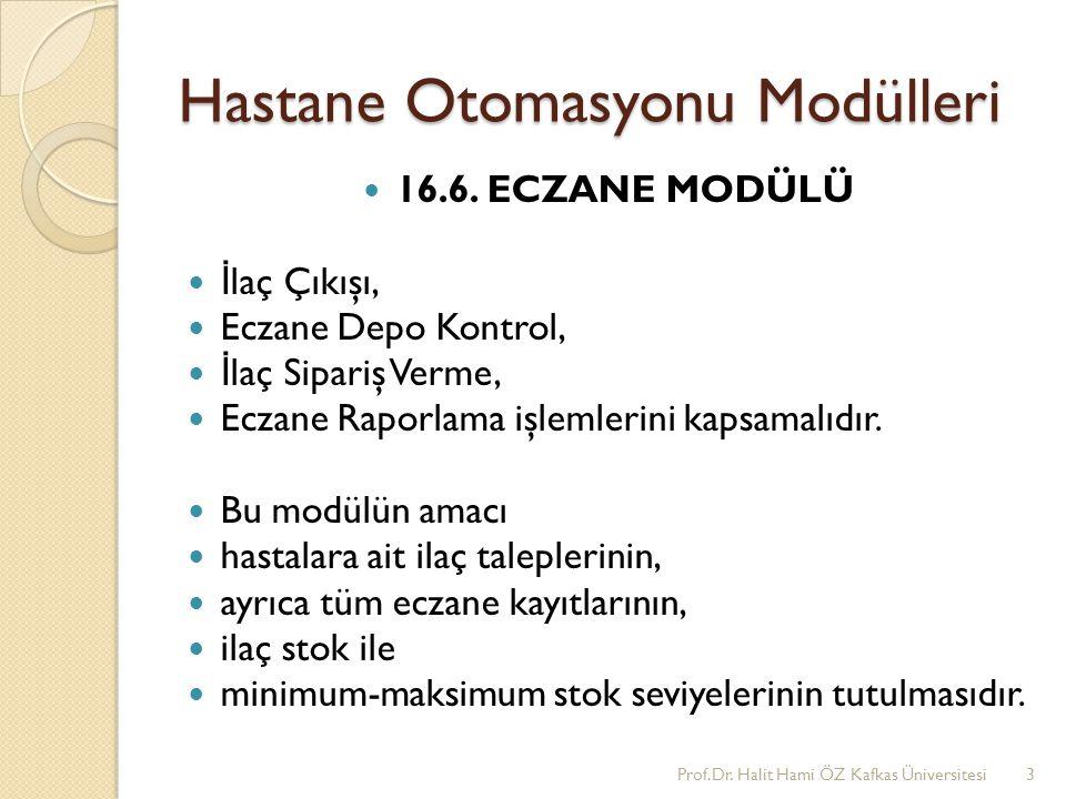 ECZANE MODÜLÜ Prof.Dr. Halit Hami ÖZ Kafkas Üniversitesi4