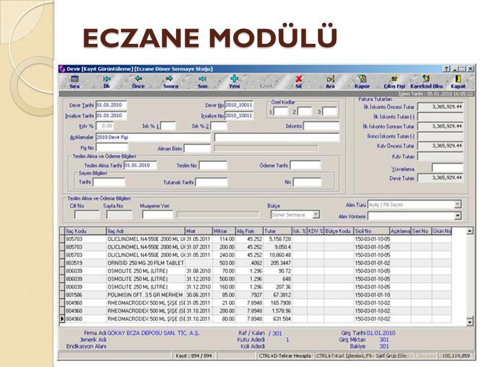 ECZANE MODÜLÜ Prof.Dr. Halit Hami ÖZ Kafkas Üniversitesi5