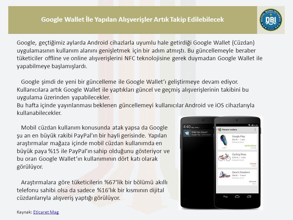 Kaynak: Eticaret MagEticaret Mag Google Wallet İle Yapılan Alışverişler Artık Takip Edilebilecek Google, geçtiğimiz aylarda Android cihazlarla uyumlu hale getirdiği Google Wallet (Cüzdan) uygulamasının kullanım alanını genişletmek için bir adım atmıştı.