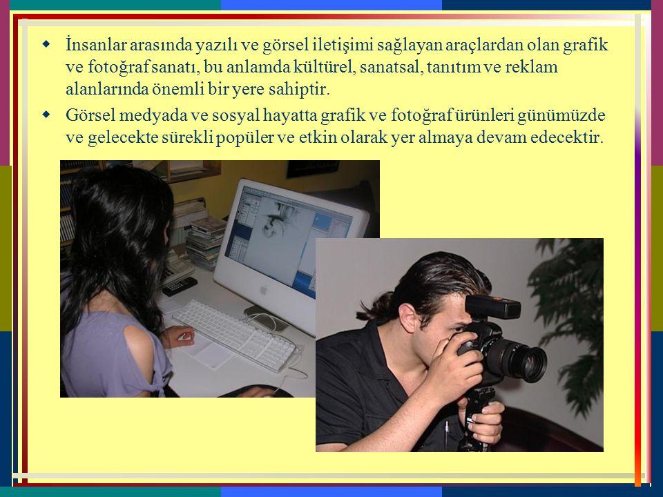 7-GRAFİK VE FOTOĞRAF  Bir mesajı görsel yolla belirli bir hedef kitleye ulaştırmak amacıyla tasarımları elle ve bilgisayarla sanatsal ölçütler içinde