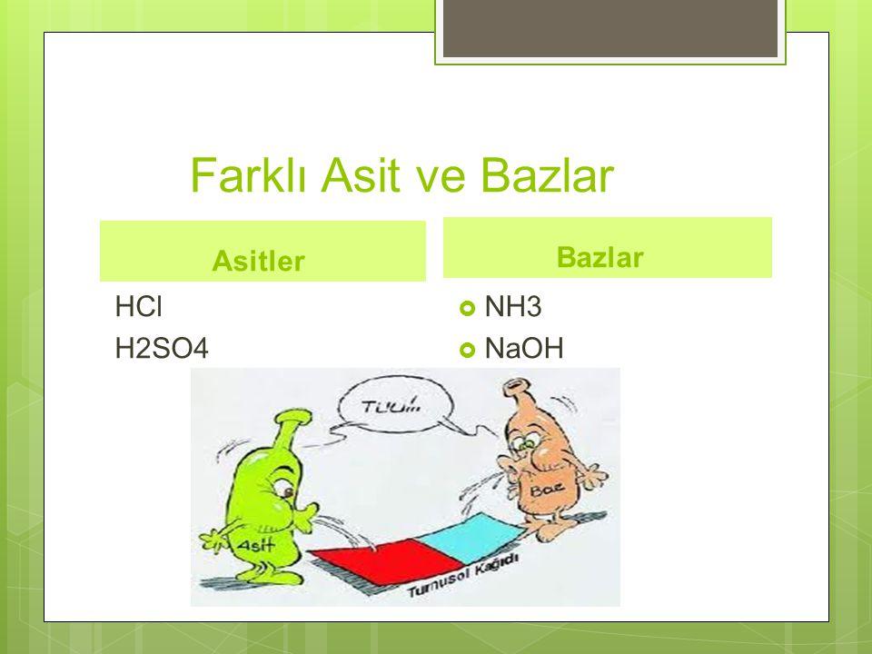 Farklı Asit ve Bazlar Asitler HCl H2SO4 Bazlar  NH3  NaOH