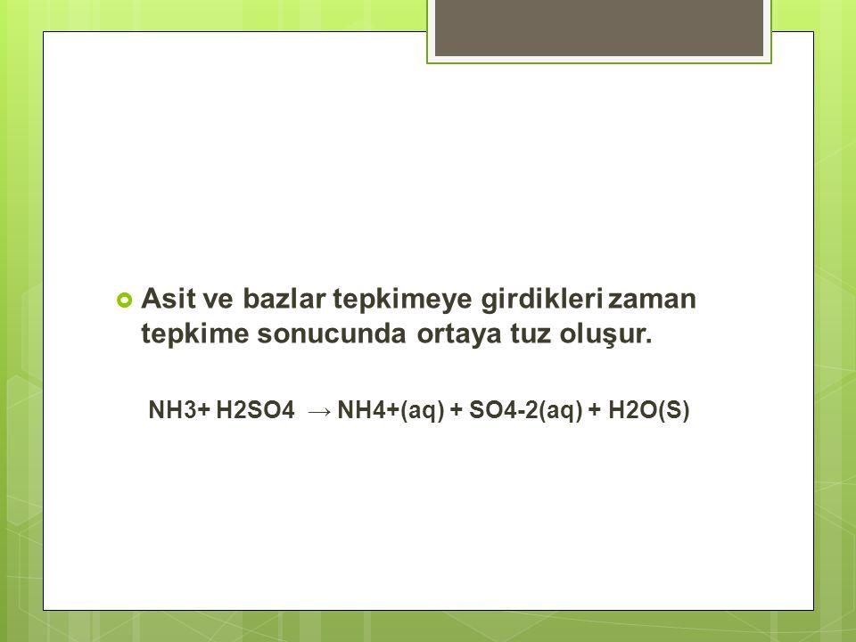  Asit ve bazlar tepkimeye girdikleri zaman tepkime sonucunda ortaya tuz oluşur. NH3+ H2SO4 → NH4+(aq) + SO4-2(aq) + H2O(S)