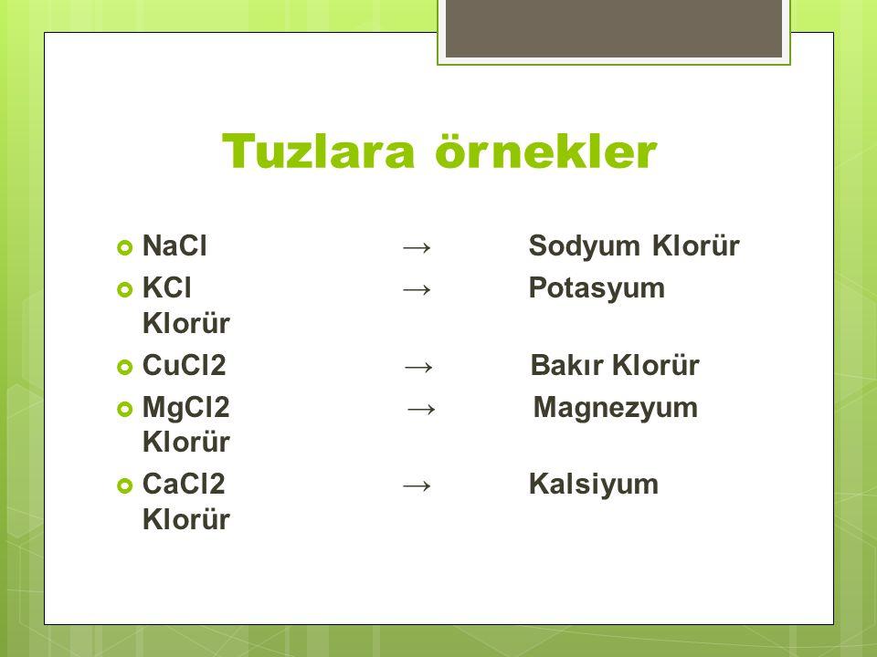 Tuzlara örnekler  NaCl → Sodyum Klorür  KCl → Potasyum Klorür  CuCl2 → Bakır Klorür  MgCl2 → Magnezyum Klorür  CaCl2 → Kalsiyum Klorür