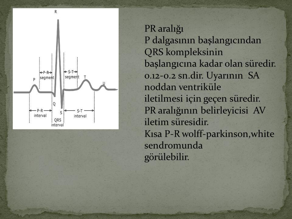 PR aralığı P dalgasının başlangıcından QRS kompleksinin başlangıcına kadar olan süredir. 0.12-0.2 sn.dir. Uyarının SA noddan ventriküle iletilmesi içi