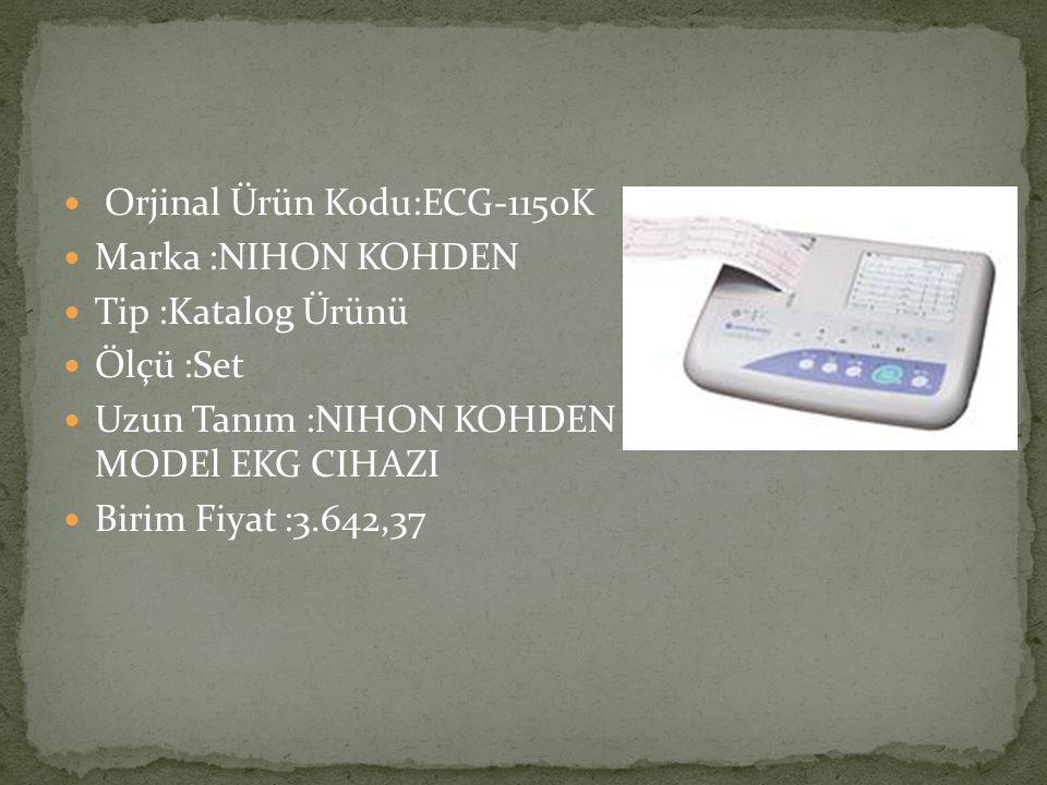 Orjinal Ürün Kodu:ECG-1150K Marka :NIHON KOHDEN Tip :Katalog Ürünü Ölçü :Set Uzun Tanım :NIHON KOHDEN MARKA EKG-1150K MODEl EKG CIHAZI Birim Fiyat :3.