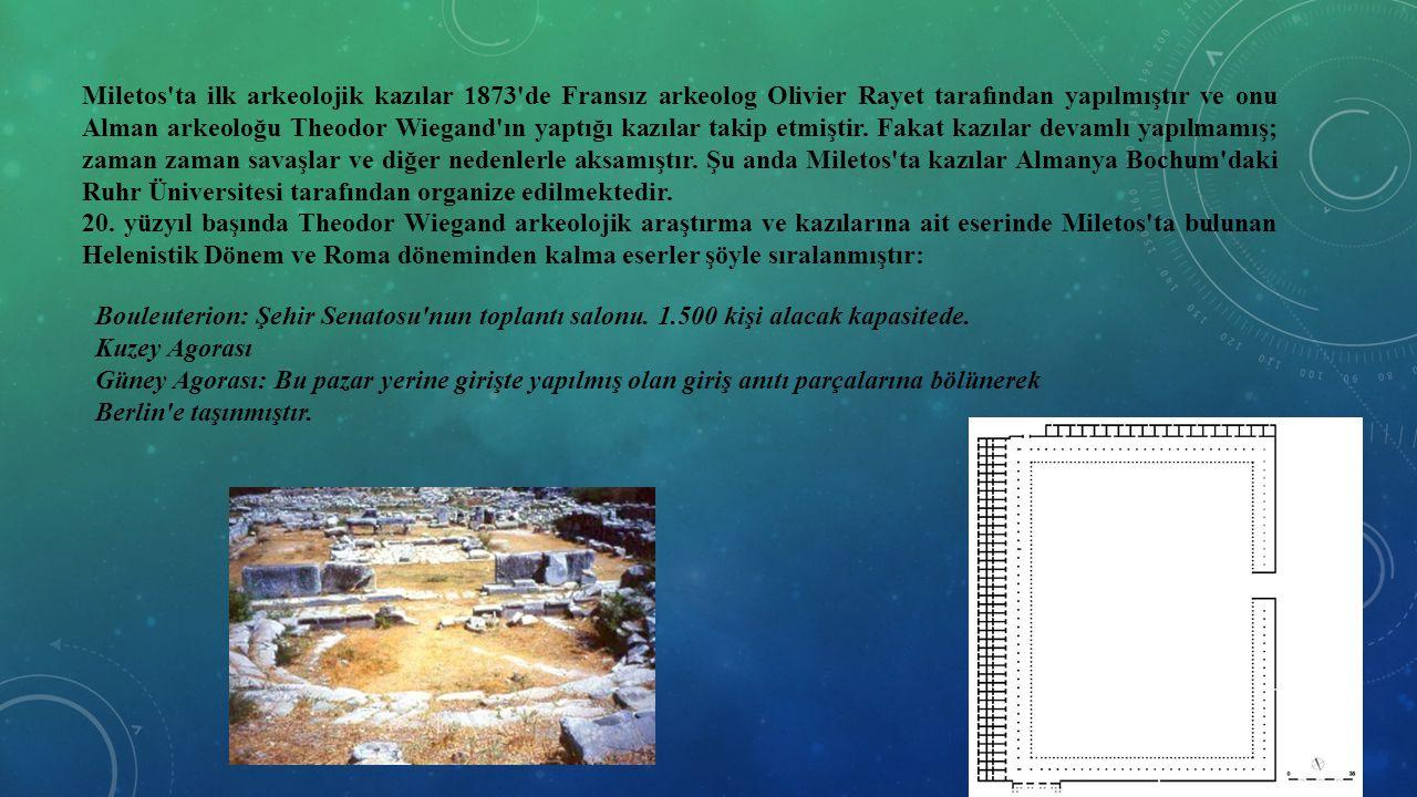 Miletos'ta ilk arkeolojik kazılar 1873'de Fransız arkeolog Olivier Rayet tarafından yapılmıştır ve onu Alman arkeoloğu Theodor Wiegand'ın yaptığı kazı