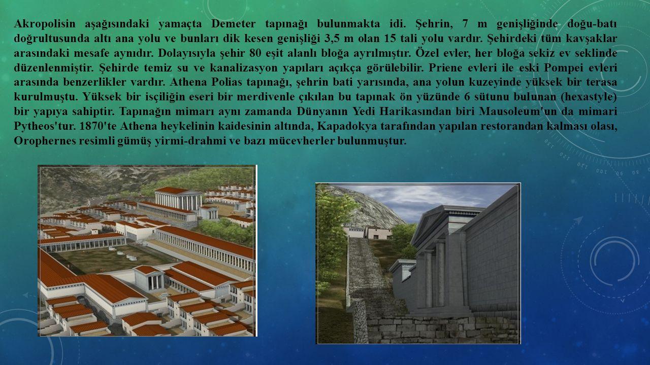 Akropolisin aşağısındaki yamaçta Demeter tapınağı bulunmakta idi. Şehrin, 7 m genişliğinde doğu-batı doğrultusunda altı ana yolu ve bunları dik kesen
