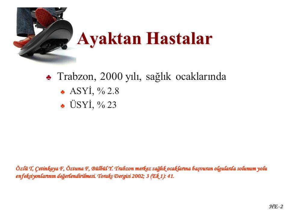 HE-2 Ayaktan Hastalar ♣ ♣ Trabzon, 2000 yılı, sağlık ocaklarında ♣ ♣ ASYİ, % 2.8 ♣ ♣ ÜSYİ, % 23 Özlü T, Çetinkaya F, Öztuna F, Bülbül Y.