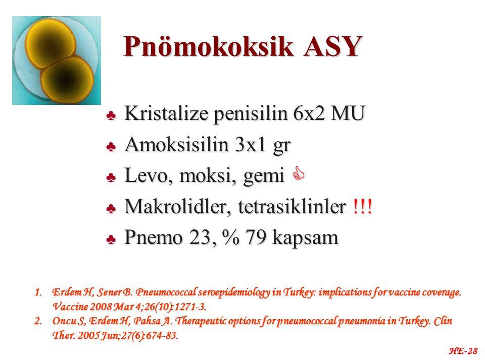 Pnömokoksik ASY ♣ Kristalize penisilin 6x2 MU ♣ Amoksisilin 3x1 gr ♣ Levo, moksi, gemi  ♣ Makrolidler, tetrasiklinler !!.