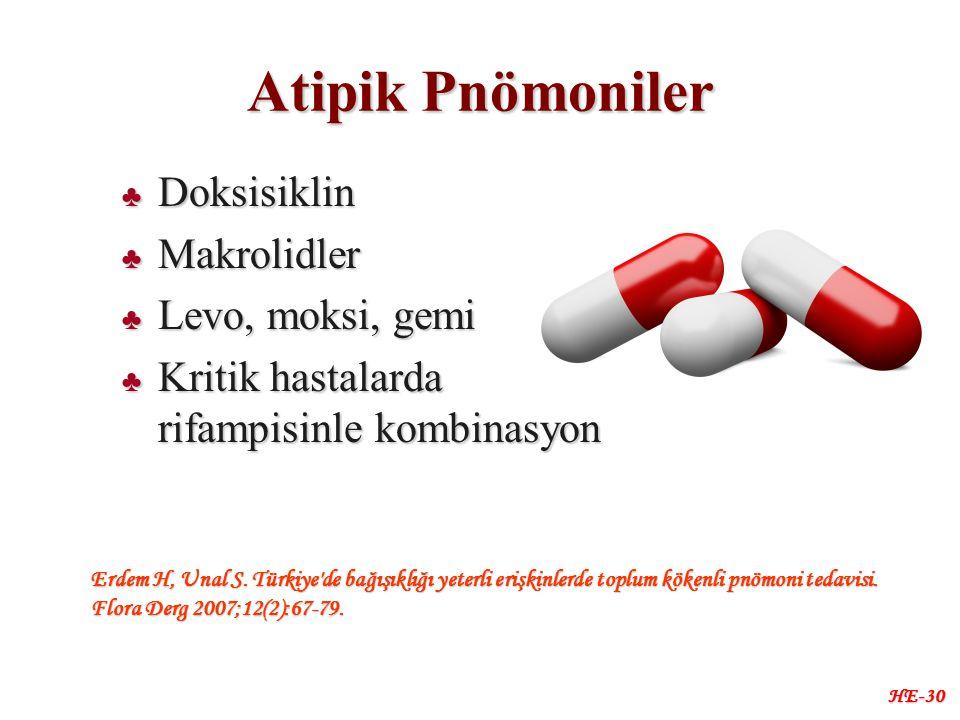 Atipik Pnömoniler ♣ Doksisiklin ♣ Makrolidler ♣ Levo, moksi, gemi ♣ Kritik hastalarda rifampisinle kombinasyon HE-30 Erdem H, Unal S.