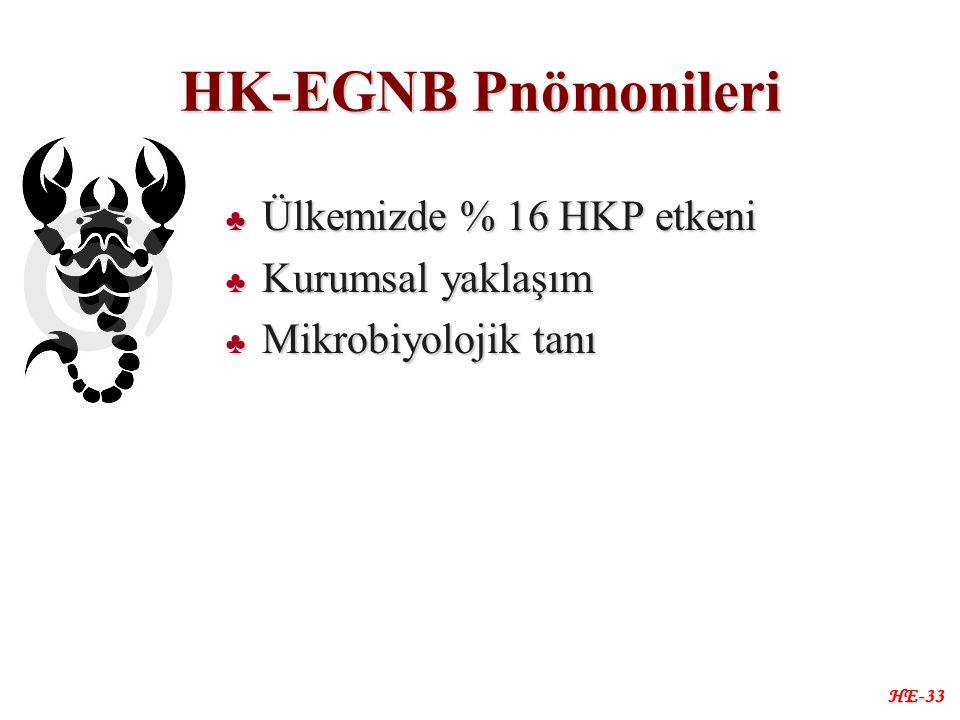 HK-EGNB Pnömonileri ♣ Ülkemizde % 16 HKP etkeni ♣ Kurumsal yaklaşım ♣ Mikrobiyolojik tanı HE-33