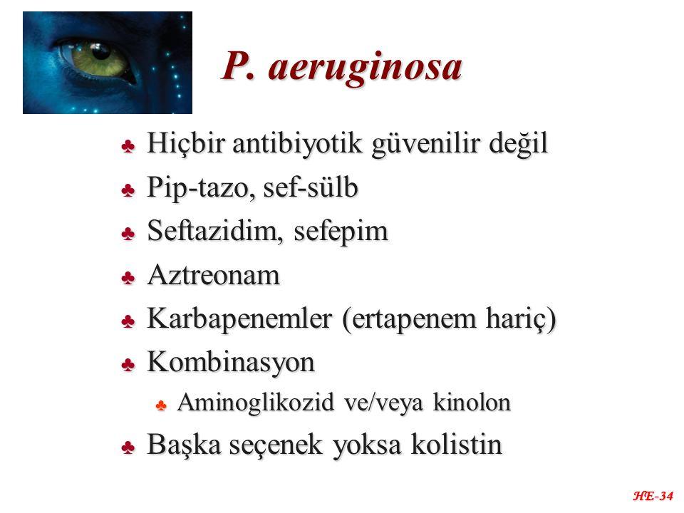 P. aeruginosa ♣ Hiçbir antibiyotik güvenilir değil ♣ Pip-tazo, sef-sülb ♣ Seftazidim, sefepim ♣ Aztreonam ♣ Karbapenemler (ertapenem hariç) ♣ Kombinas