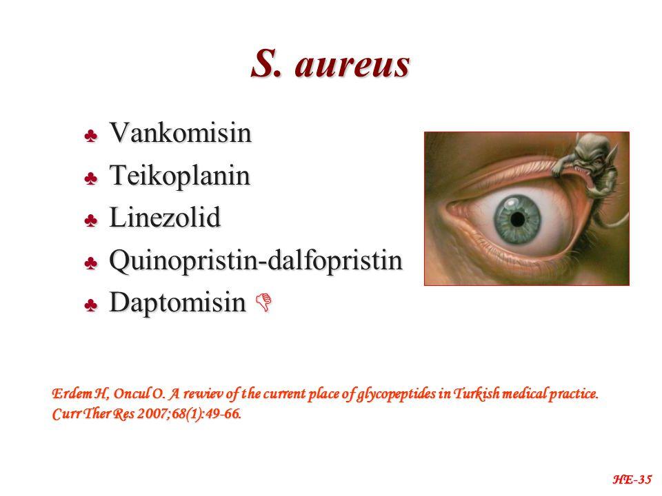 S. aureus ♣ Vankomisin ♣ Teikoplanin ♣ Linezolid ♣ Quinopristin-dalfopristin ♣ Daptomisin  HE-35 Erdem H, Oncul O. A rewiev of the current place of g