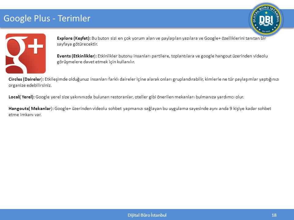 Dijital Büro İstanbul18 Google Plus - Terimler Explore (Keşfet): Bu buton sizi en çok yorum alan ve paylaşılan yazılara ve Google+ özelliklerini tanıtan bir sayfaya götürecektir.