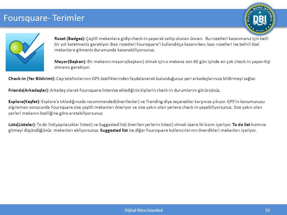 Dijital Büro İstanbul32 Foursquare- Terimler Rozet (Badges): Çeşitli mekanlara gidip check-in yaparak sahip olunan ünvan.