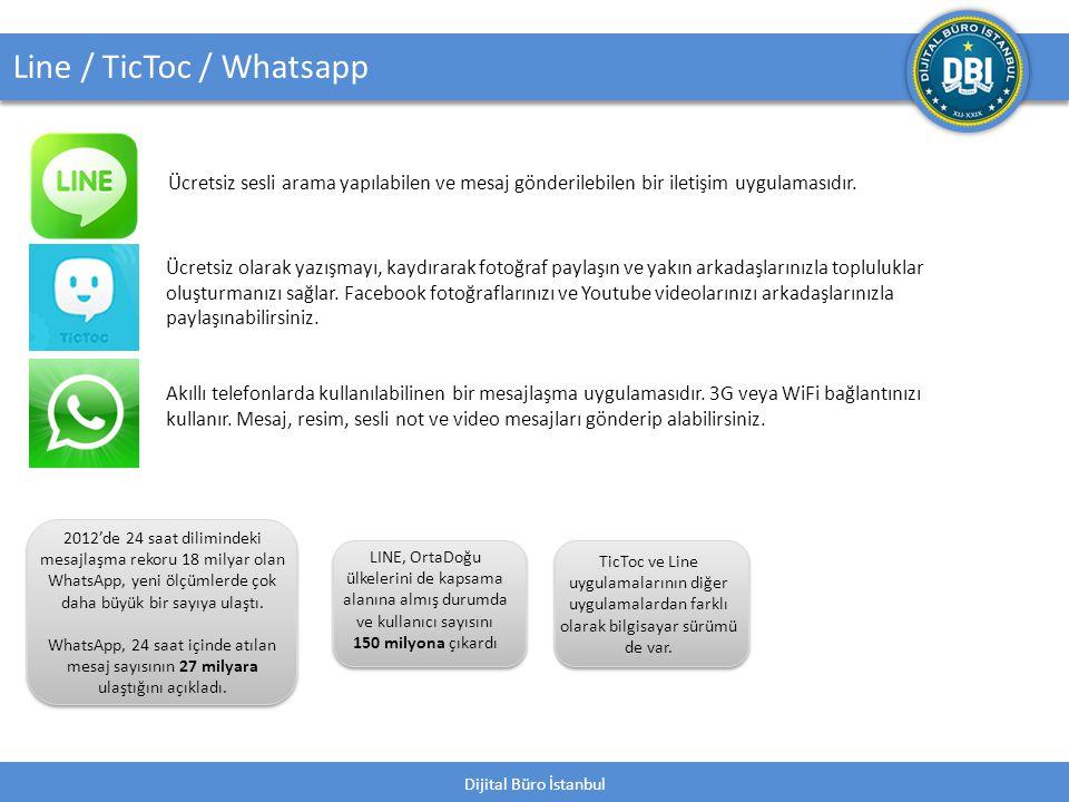 Dijital Büro İstanbul 40 Line / TicToc / Whatsapp Ücretsiz sesli arama yapılabilen ve mesaj gönderilebilen bir iletişim uygulamasıdır.