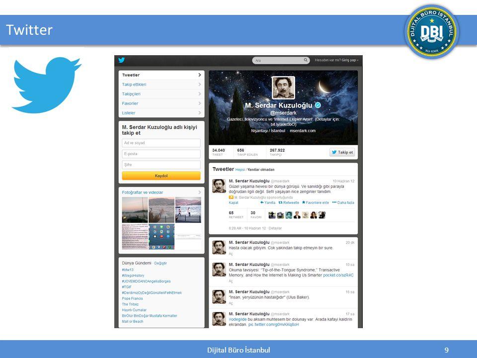 Dijital Büro İstanbul10 Twitter; 140 karakterden oluşan tweet adı verilen internet kısa mesajlarının gönderildiği ve başkalarının mesajlarının okunabildiği bir mikro-blog servisidir.