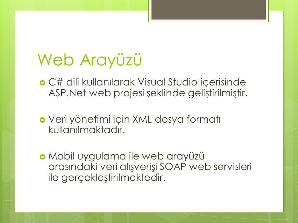 Web Arayüzü  C# dili kullanılarak Visual Studio içerisinde ASP.Net web projesi şeklinde geliştirilmiştir.  Veri yönetimi için XML dosya formatı kull