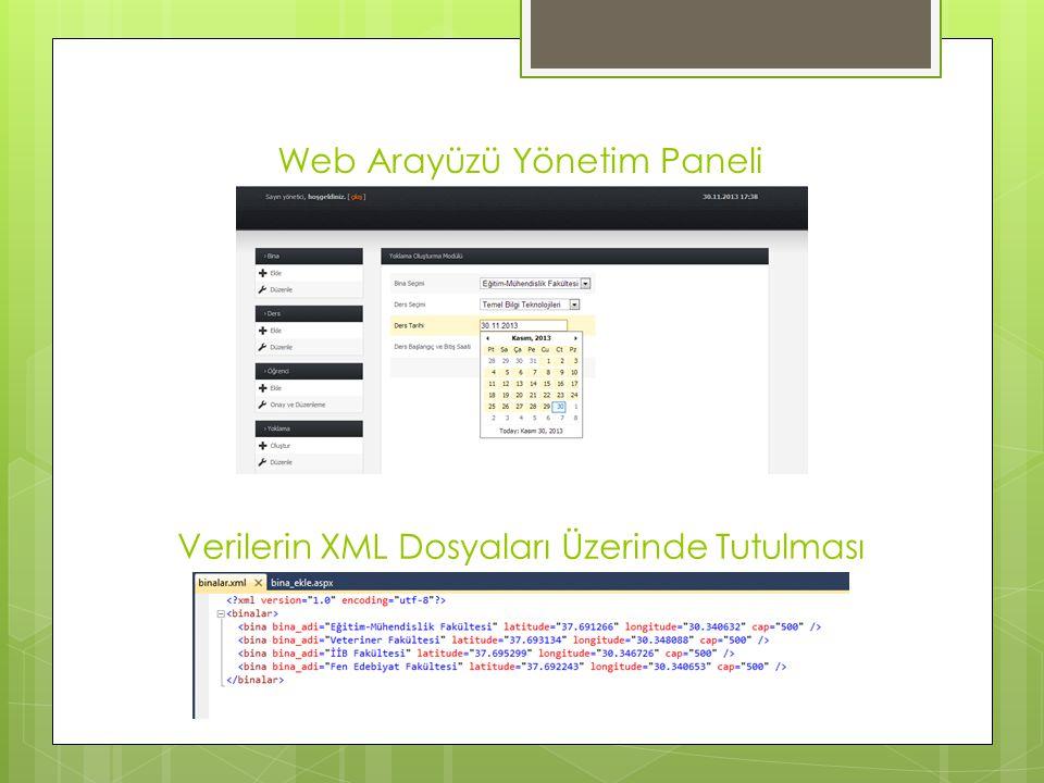 Web Arayüzü Yönetim Paneli Verilerin XML Dosyaları Üzerinde Tutulması