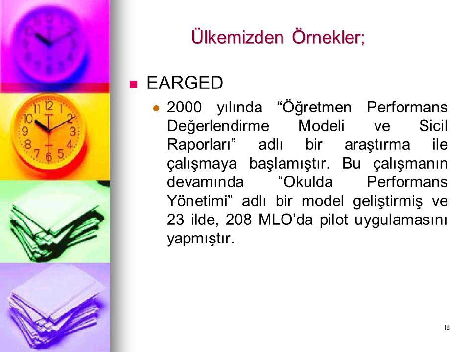 """18 Ülkemizden Örnekler; EARGED 2000 yılında """"Öğretmen Performans Değerlendirme Modeli ve Sicil Raporları"""" adlı bir araştırma ile çalışmaya başlamıştır"""